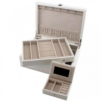 Jewelry Box with Removable Tray and Travel Case White Leather