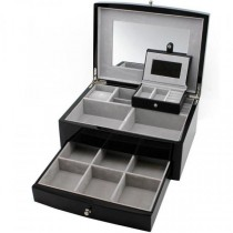 Jewelry Box Espresso Wood Multiple Compartments w/ Travel Case
