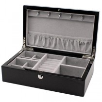 Compact Jewelry Box in Espresso Wood Finish w/ Push Button Lock