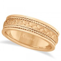 Men's Matt Finish Braided Handmade Wedding Ring 14k Rose Gold (7mm)
