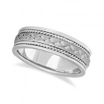 Men's Matte Finish Braided Handmade Wedding Ring 14k White Gold (7mm) Size 9