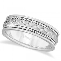 Men's Matte Finish Braided Handmade Wedding Ring 14k White Gold (7mm)