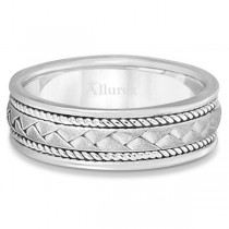 Men's Matt Finish Braided Handmade Wedding Ring 14k White Gold (7mm)