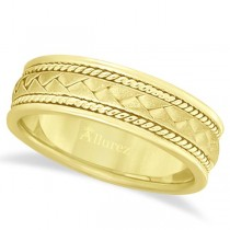 Men's Matt Finish Braided Handmade Wedding Ring 14k Yellow Gold (7mm)