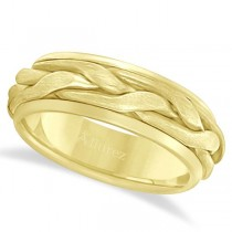 Men's Handwoven Braided Wide Band Wedding Ring 14k Yellow Gold (8.5mm)