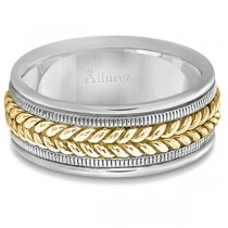 Woven Milgrain Edge Wedding Ring For Men 14k Two-Tone Gold (8mm)
