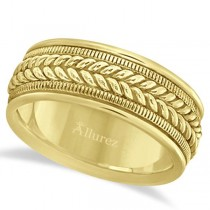 Woven Milgrain Edge Wedding Ring For Men 14k Yellow Gold (8mm)
