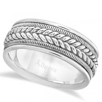 Woven Milgrain Edge Wedding Band For Men 18k White Gold (8mm)