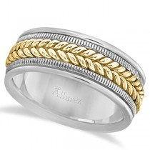Woven Milgrain Edge Wedding Band For Men 18k Two-Tone Gold (8mm)