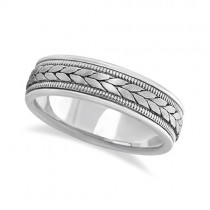 Men's Satin Finish Rope Handwoven Wedding Ring 14k White Gold (6mm)