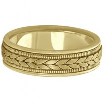 Men's Satin Finish Rope Handwoven Wedding Ring 14k Yellow Gold (6mm)|escape