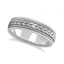Men's Satin Finish Rope Handwoven Wedding Band 18k White Gold (6mm)