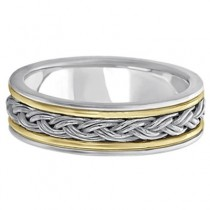Men's Rope Handwoven Wedding Ring 14k Two-Tone Gold (6mm)