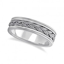 Men's Hand Braided Woven Wedding Ring 14k White Gold (6mm)