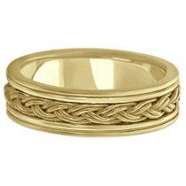 Men's Hand Braided Woven Wedding Ring 14k Yellow Gold (6mm)|escape