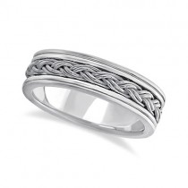 Men's Hand Braided Woven Wedding Band 18k White Gold (6mm)