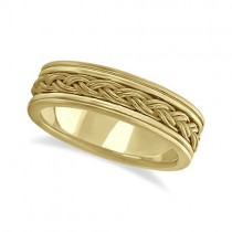 Men's Hand Braided Woven Wedding Band 18k Yellow Gold (6mm)