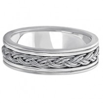 Men's Hand Braided Woven Wedding Band Palladium (6mm)