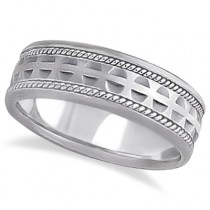 Modern Handmade Wedding Ring For Men 14k White Gold (7mm)