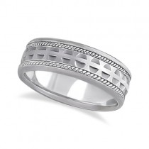 Modern Handmade Wedding Ring For Men 18k White Gold (7mm)