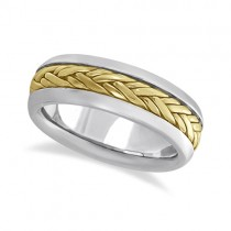 Men's Wide Handwoven Wedding Ring 14k Two-Tone Gold (6mm)