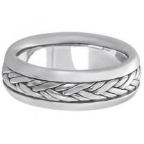 Men's Wide Handwoven Wedding Ring 14k White Gold (6mm)|escape