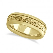 Men's Wide Handwoven Wedding Ring 14k Yellow Gold (6mm)