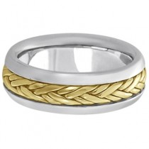 Men's Wide Handwoven Wedding Band 18k Two-Tone Gold (6mm)