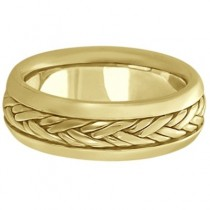 Men's Wide Handwoven Wedding Band 18k Yellow Gold (6mm)|escape