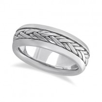 Men's Wide Handwoven Wedding Ring Band Palladium (6mm)