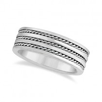 Men's Wide Flat Handmade Rope Wedding Ring 14k White Gold (8mm)
