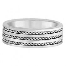 Men's Wide Flat Handmade Rope Wedding Ring 14k White Gold (8mm)