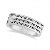 Mens Wide Flat Handmade Rope Wedding Ring 18k White Gold (8mm)