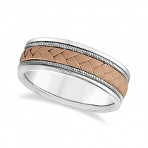 Men's Wide Braided Handwoven Rope Wedding Ring 14k Two-Tone Gold (8mm)