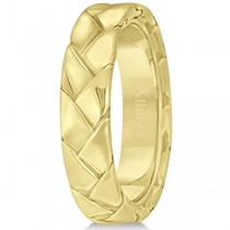 Men's High Polish Braided Handwoven Wedding Ring 14k Yellow Gold (7mm)