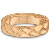 Men's High Polish Braided Handwoven Wedding Ring 18k Rose Gold (7mm)|escape