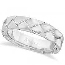 Men's High Polish Braided Handwoven Wedding Ring 18k White Gold (7mm)