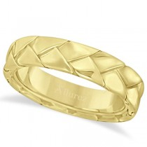 Men's High Polish Braided Handwoven Wedding Ring 18k Yellow Gold (7mm)