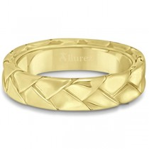Men's High Polish Braided Handwoven Wedding Ring 18k Yellow Gold (7mm)