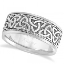 Men's Hand Made Celtic Irish Wedding Ring 14k White Gold (10mm)