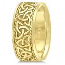 Men's Hand Made Celtic Irish Wedding Ring 14k Yellow Gold (10mm)