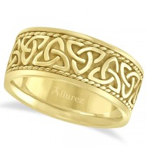 Men's Hand Made Celtic Irish Wedding Band 18k Yellow Gold (10mm)