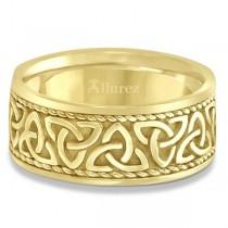Men's Hand Made Celtic Irish Wedding Band 18k Yellow Gold (10mm)