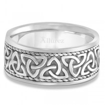 Men's Hand Made Celtic Irish Rope Wedding Ring Palladium (10mm)