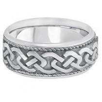 Men's Vintage Hand Made Celtic Irish Wedding Ring 14k White Gold (9.5mm)