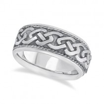 Men's Vintage Hand Made Celtic Irish Wedding Ring 18k White Gold (9.5mm)