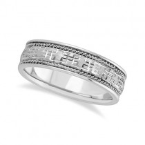 Men's Wide Handmade Vintage Carved Wedding Ring 14k White Gold (6mm)