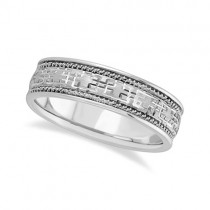 Men's Wide Handmade Vintage Carved Wedding Band 18k White Gold (6mm)