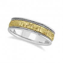 Mens Wide Handmade Vintage Carved Wedding Band 18k Two-Tone Gold (6mm)