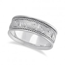 Men's Fancy Hand Made Carved Wedding Ring Band Palladium (8mm)
